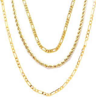 3 Gold Plated Chains Combo by Sparkling Jewellery