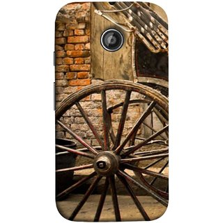 FUSON Designer Back Case Cover for Motorola Moto E ::  Motorola Moto E XT1021 :: Motorola Moto E Dual SIM :: Motorola Moto E Dual SIM XT1022 :: Motorola Moto E Dual TV XT1025 (Wheel Hay Cart Old Wagons Indian Cycle Rickshow)