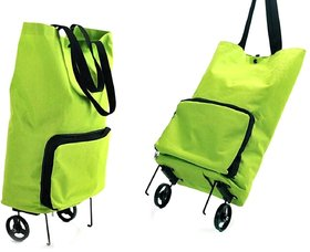 Polyester  Polyester Blend Foldable Trolley Bag Green