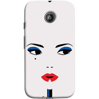 FUSON Designer Back Case Cover for Motorola Moto E ::  Motorola Moto E XT1021 :: Motorola Moto E Dual SIM :: Motorola Moto E Dual SIM XT1022 :: Motorola Moto E Dual TV XT1025 (Pink Lips Blue Black Eyes Red Nailpolish)