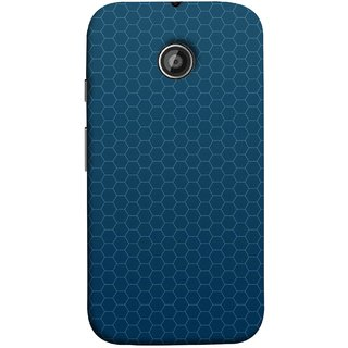 FUSON Designer Back Case Cover for Motorola Moto E2 :: Motorola Moto E Dual SIM (2nd Gen) :: Motorola Moto E 2nd Gen 3G XT1506 :: Motorola Moto E 2nd Gen 4G XT1521 (Hexa Design Honey Bee Hive Art Style Blue)