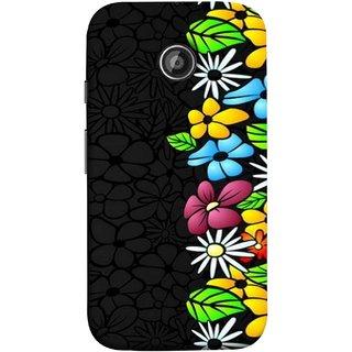 FUSON Designer Back Case Cover for Motorola Moto E2 :: Motorola Moto E Dual SIM (2nd Gen) :: Motorola Moto E 2nd Gen 3G XT1506 :: Motorola Moto E 2nd Gen 4G XT1521 (Multicolour Flowers Phul Gray Geen Leaves Beautiful)