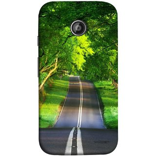 FUSON Designer Back Case Cover for Motorola Moto E ::  Motorola Moto E XT1021 :: Motorola Moto E Dual SIM :: Motorola Moto E Dual SIM XT1022 :: Motorola Moto E Dual TV XT1025 (Road Surrounded By Mountains Beautiful Old Trees )