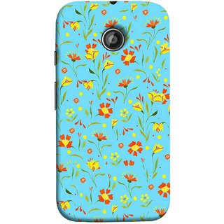 FUSON Designer Back Case Cover for Motorola Moto E2 :: Motorola Moto E Dual SIM (2nd Gen) :: Motorola Moto E 2nd Gen 3G XT1506 :: Motorola Moto E 2nd Gen 4G XT1521 (Grey Yellow Red Small Checks Background Fresh Flowers)