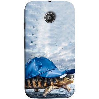 FUSON Designer Back Case Cover for Motorola Moto E ::  Motorola Moto E XT1021 :: Motorola Moto E Dual SIM :: Motorola Moto E Dual SIM XT1022 :: Motorola Moto E Dual TV XT1025 (Cute Tortoise Turtle Wearing A Party Hat Water Drops)