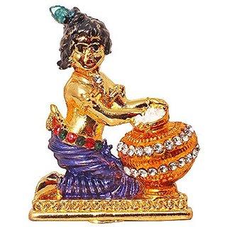eec30bfb6 Brass 24 K Gold Plated With Stones Hindu God Shri Krishan Car Dashboard  Statue Lord Krishna Idol Makhan Chor   Bal Gopal Handicraft Decorative  Spiritual ...