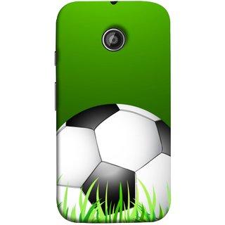 FUSON Designer Back Case Cover for Motorola Moto E2 :: Motorola Moto E Dual SIM (2nd Gen) :: Motorola Moto E 2nd Gen 3G XT1506 :: Motorola Moto E 2nd Gen 4G XT1521 (Football Green Ground Ball Black White Fifa League )