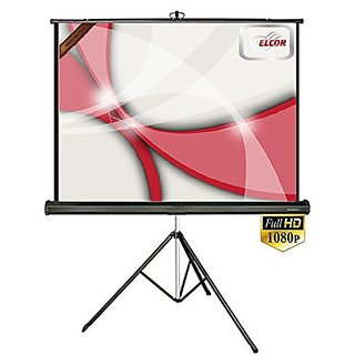 ELCOR Tripod projector screens 6ft x 8ft with 120 Diagonal In HD, 3D  4K Technology