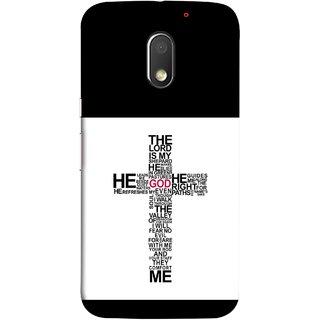 FUSON Designer Back Case Cover for Motorola Moto E3 :: Motorola Moto E (3rd Gen) (The Lord Is My God Jesus No Fear No Evil Soul Christ)