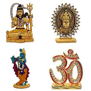 Combo 4 brass statue Lord Shiva Hanuman God Krishna Om Sign Idol Pooja Mandir /Home Temple & Car Dash Board Showpiece Gift Item