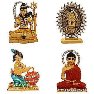 Combo 4 brass statue Lord Shiva God Hanuman Krishna Budhha Idol Pooja Mandir /Home Temple & Car Dash Board Showpiece Gift Item