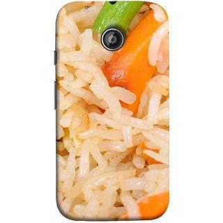 FUSON Designer Back Case Cover for Motorola Moto E2 :: Motorola Moto E Dual SIM (2nd Gen) :: Motorola Moto E 2nd Gen 3G XT1506 :: Motorola Moto E 2nd Gen 4G XT1521 (Veg Rice Hot With Raita White Top Recipes Food)