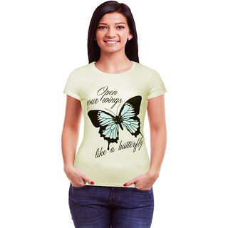 KKOLLECTIONS White Printed Shirt Collar Tshirts  For Women