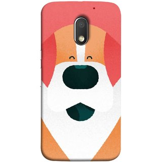 FUSON Designer Back Case Cover for Motorola Moto E3 :: Motorola Moto E (3rd Gen) (Big Smiling Puppy Canvas Painting Close Up Photo)