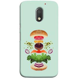 FUSON Designer Back Case Cover for Motorola Moto E3 :: Motorola Moto E (3rd Gen) (Flying Burger Ingredients Onion Cheese Tomatos )