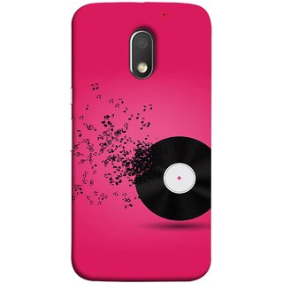FUSON Designer Back Case Cover for Motorola Moto E3 :: Motorola Moto E (3rd Gen) (Vinyl Disc With Music Notes Music Lover And Collector )