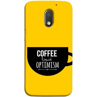 FUSON Designer Back Case Cover for Motorola Moto E3 :: Motorola Moto E (3rd Gen) (Lost Bumblebee Right Coffee Fuel Buy Gourmet Coffee)