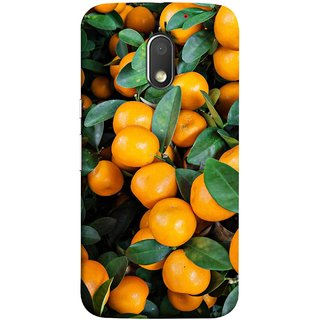 FUSON Designer Back Case Cover for Motorola Moto E3 :: Motorola Moto E (3rd Gen) (Orange Tree Farm Park Beautiful Green Leaves)