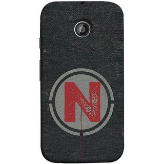 FUSON Designer Back Case Cover for Motorola Moto E ::  Motorola Moto E XT1021 :: Motorola Moto E Dual SIM :: Motorola Moto E Dual SIM XT1022 :: Motorola Moto E Dual TV XT1025 (N Is Ok Initial Red Glossy Round Icon N Random Red)