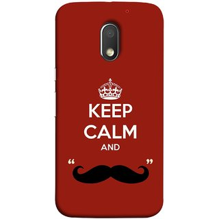 FUSON Designer Back Case Cover for Motorola Moto E3 :: Motorola Moto E (3rd Gen) (Beautiful Mustache Always Stay Silent Work Resolve)
