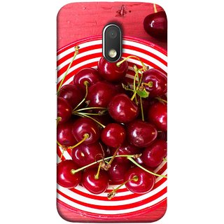 FUSON Designer Back Case Cover for Motorola Moto E3 :: Motorola Moto E (3rd Gen) (Plump Dark Red Farm Fresh Very Tasty )
