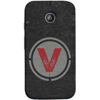 FUSON Designer Back Case Cover for Motorola Moto E ::  Motorola Moto E XT1021 :: Motorola Moto E Dual SIM :: Motorola Moto E Dual SIM XT1022 :: Motorola Moto E Dual TV XT1025 (V Is Ok Initial Red Glossy Round Icon V Random Red)