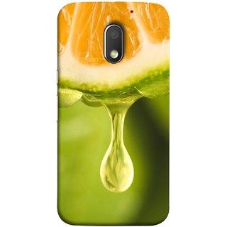 FUSON Designer Back Case Cover for Motorola Moto E3 :: Motorola Moto E (3rd Gen) (Orange Juice Dripping Slice Citrus Fruit Flesh)