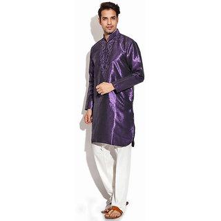 TwoPeople India Purple Jacquard Kurta Set