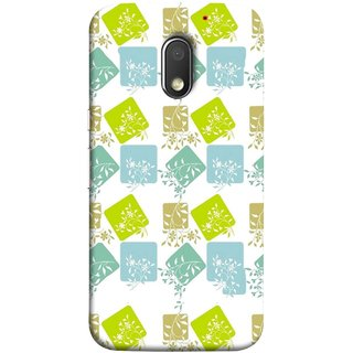 FUSON Designer Back Case Cover for Motorola Moto E3 :: Motorola Moto E (3rd Gen) (Pixel Mosaic Background Squares Tree Plants Garden )