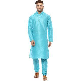Hangup Mens Blue Plain Kurta Pyjama
