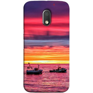 FUSON Designer Back Case Cover for Motorola Moto E3 :: Motorola Moto E (3rd Gen) (Red Sky Horizon Fishing Boats Sun Shining Happy)