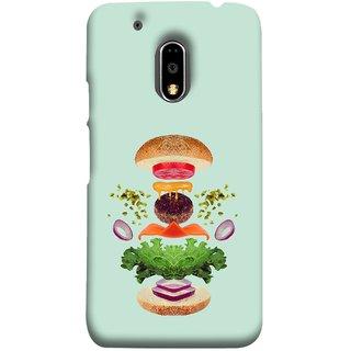 FUSON Designer Back Case Cover for Moto E3 Power :: Motorola Moto E3 Power (Flying Burger Ingredients Onion Cheese Tomatos )