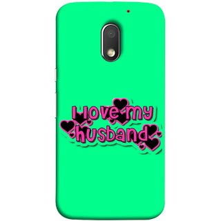 FUSON Designer Back Case Cover for Motorola Moto E3 :: Motorola Moto E (3rd Gen) (Love My Family Husband Hubby Better Half Partner)