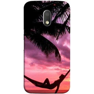 FUSON Designer Back Case Cover for Motorola Moto E3 :: Motorola Moto E (3rd Gen) (Sunset Beach Hammock Chillout Wallpapers Palmtrees)