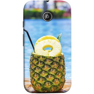 FUSON Designer Back Case Cover for Motorola Moto E2 :: Motorola Moto E Dual SIM (2nd Gen) :: Motorola Moto E 2nd Gen 3G XT1506 :: Motorola Moto E 2nd Gen 4G XT1521 (Fresh Pineapple Cocktails At Swimming Pool Blue Waters )