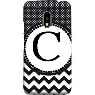 FUSON Designer Back Case Cover for Moto E3 Power :: Motorola Moto E3 Power (Alphabets Dots Black Shade Wave Patterns White)