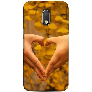 FUSON Designer Back Case Cover for Motorola Moto E3 :: Motorola Moto E (3rd Gen) (Close Up Male And Female Hands Making Heart Shape)