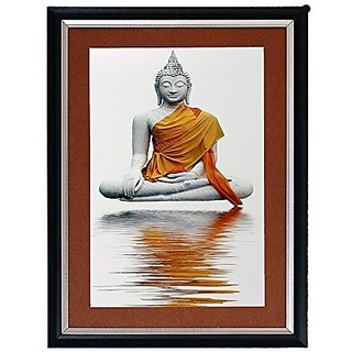 Buddha Textured UV Effect with Acrylic Glass Painting - Abstract Modern Art Home Wall Décor Hangings Gift Items