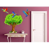 wall dreams Colorful parrot in a tree Nature Nature PVC  Sticker