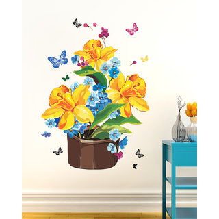 wall dreams Colorful pot with flowers Nature Nature PVC  Sticker