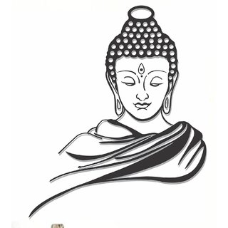 Wall Dreams Vinyl Peaceful Buddha Religious Inspirational Black Color Wall Sticker (Pack of 1)