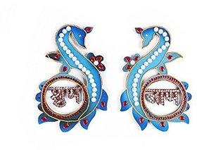 Diwali door hanging handmade multicolored wooden shubh labh PEACOCK design
