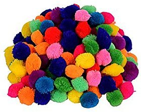 Pom Pom multicolor balls for art  craft, decoration, jewellery making pack of 250, 28 mm dia