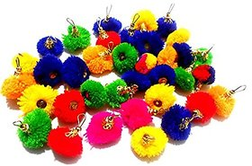Pom pom multicolor tassels 50 pcs, 28 mm used for making earrings, jewellery,caps, dress borders,arts  crafts, decorations etc