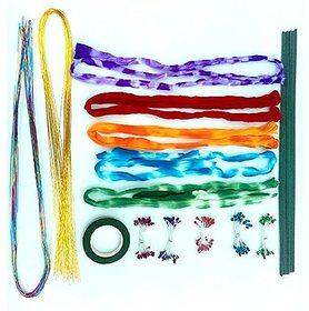 Stocking Flower Making. Diy Kit, Includes, 10 Long Stockings, Heavy  Strongly Golden  Multi. Colour Wires 18 Each. 10 Pibs, 1 Green Tape, 12 Green Wires