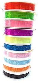 Colorful Elastic For Diy Jewelry,  Bracelet Beads , Set Of 10 Multicolored Elastic Rolls Size 0.8 Mm