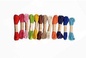 Jute thread (dori ) used in scrap booking , bag handle making , art craft , decorations, 20 mt each color , 12 pecs multicolored pack , total 240 mts