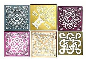 Rangoli Stencils Big Size 12  12 , Assorted Designs, Set Of 6 , Used For Marble  Burada Rangoli