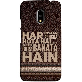 FUSON Designer Back Case Cover for Moto E3 Power :: Motorola Moto E3 Power (Waqt Usse Bura Banata Hai Brown Background)