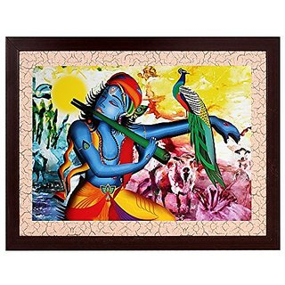 Krishna Textured UV Effect with Acrylic Glass Painting - Abstract Modern Art Home Wall Décor Hangings Gift Items